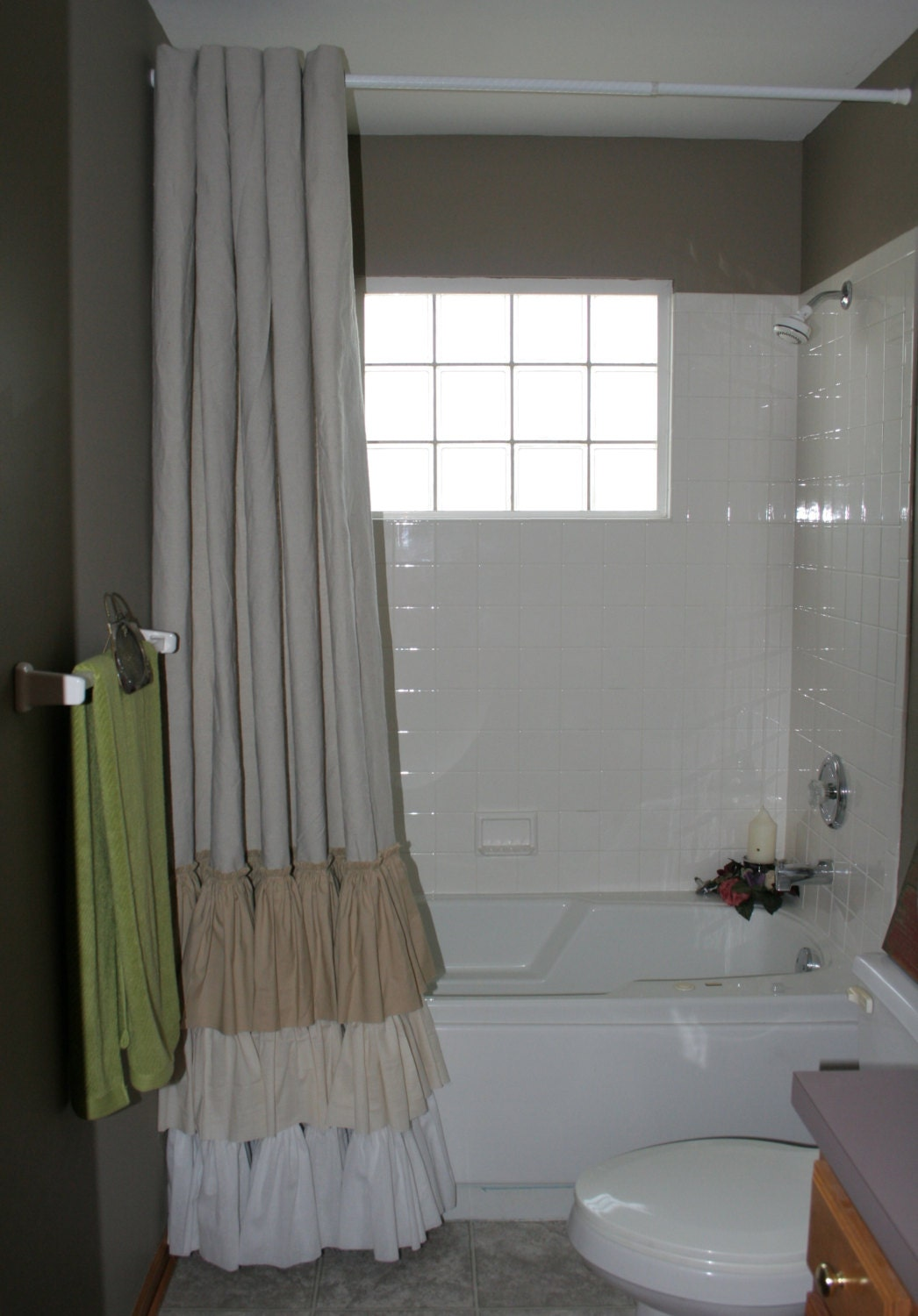 Drop Cloth Painters Cloth Shabby Chic Shower Curtain Ruffled