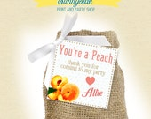 PEACH favor tag for birthday or shower favors - You're a peach - PRINTABLE