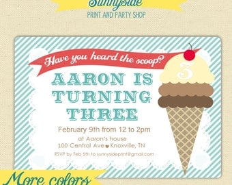 Boys Ice Cream Birthday Party Invitation  - Printable - Ice Cream Social