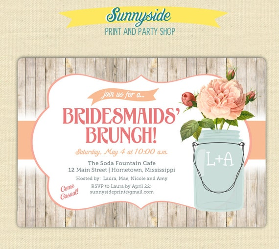 bridal shower brunch invite printable invitation bridesmaid brunch ...
