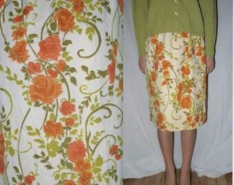 Primrose Lane ... Vintage 50s 60s floral skirt / 1950s straight / high waist / 1960s mad men / cream ivory orange avocado ... S M