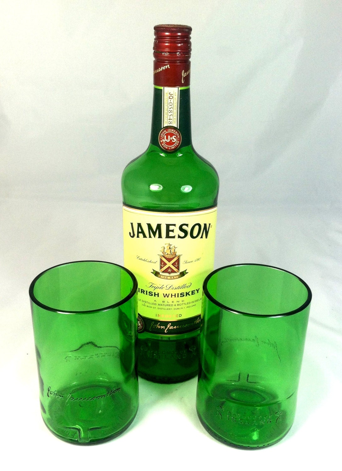 Jameson whiskey bottle rocks tumbler green recycled cocktail for Jameson mixed drinks recipes