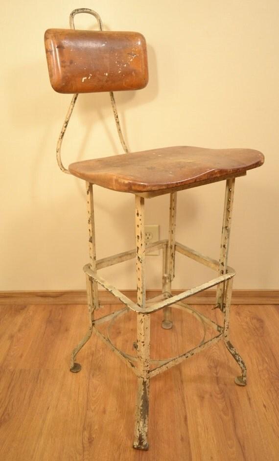 Drafting stool vintage industrial shop wood metal adjustable