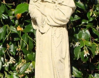 Vintage SAINT ANTHONY Outdoor Cast Stone Statue (c)
