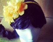 Headband, Yellow, Sunshine, Flower, Springtime, Bright, Ribbon, Daffodils, Spring- Sunshine Pop