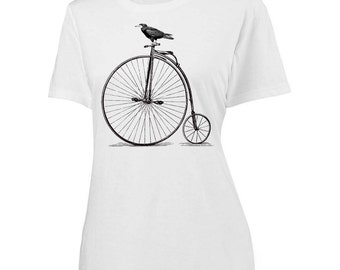 Womens Vintage Bicycle Shirt - screen printed velocipede with bird