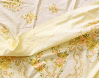 Vintage 1970's Set of Yellow and Orange Floral and Bow Percale Twin Sheets and Pillowcase