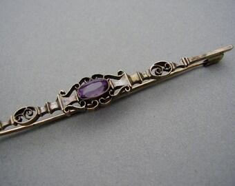 Theodor Fahrner Art Nouveau Jugendstil Neoclassical Biedermeier Folk Filigree TF Depose 935 Silver Amethyst Brooch Pin Pforzheim Brosche