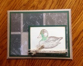 Duck, Handmade, Hand-stamped, Fathers day Card, Birthday Card, Any Occasion