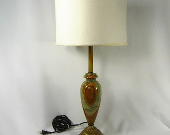 Onyx Table Lamp Solid Brass Green Brown Marble Tall Custom Handmade Heavy