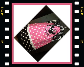 Custom Made Minnie Mouse DRESS Embroidered center Applique NAME Inspired Pink Polka dot SIZES 6M-6yrs Eyelet trim