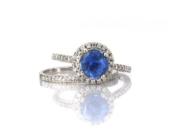 CERTIFIED  untreated Ceylon cornflower 1.45 Carat blue sapphire ring Diamond ring 14k white gold ring Engagement ring P-044