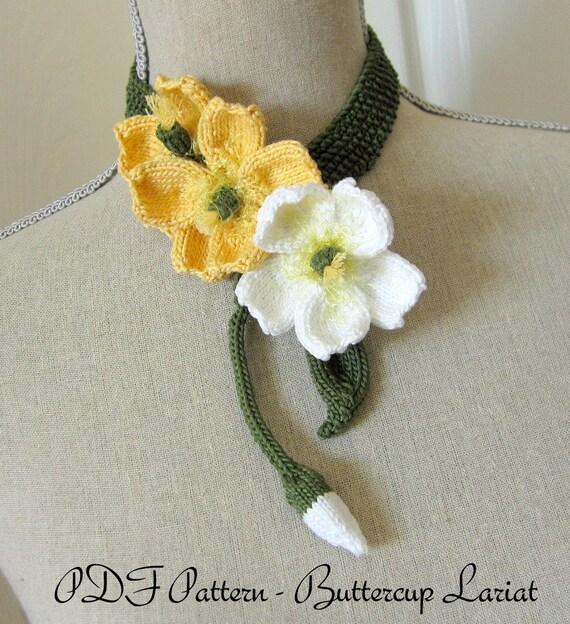 Knit Flower Patterns : PDF Knit Flower Pattern Buttercup Knit Jewelry Necklace