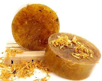 Honeysuckle Calendula Handmade Soap with Calendula Chamomile infused Oils - Hemp Oil & Olive Oil - Vegan