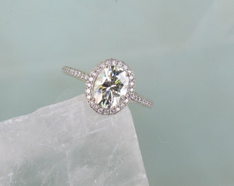 Moissanite Engagement Ring in 14k Gold Diamond Halo 7x5 Oval Moissanite Weddings Anniversary Available in all Gold Colors