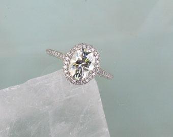Forever One Charles & Colvard Moissanite Engagement Ring in 14k Gold Diamond Halo 8x6 Oval Moissanite