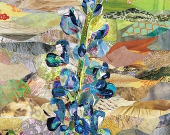 Texas Bluebonnet Collage Wall Art Print