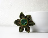 RESERVED - Shabby Chic Fabric Flower Brooch - Tsumami Kanzashi Flower Pin Brooch - Red, Green and Gold - Cotton Fabric - Antique Button