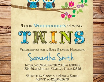 Twin Baby Shower Invitation | Etsy