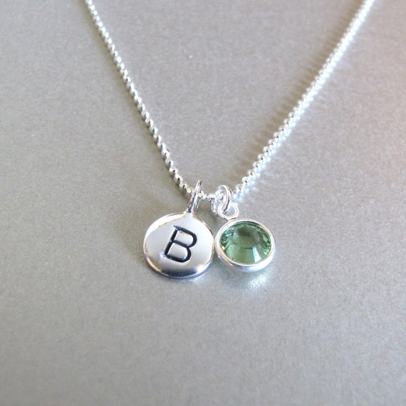 Silver Initial Amp Birthstone Charm Necklace By