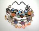 Druzy, MOP, crystal necklace, bib statement, silvertone, salmon, blue, gunmetal and black chains, unique pewter toggle: Sand Meets Sky - TashinkaBeadingHeart
