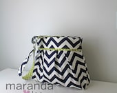 Chevron Diaper Bag - Stella Large -Cross Body Messenger Bag - Navy Chevron and Lime Green Dot- with Elastic Pockets Stroller Attachment
