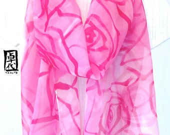 Hand painted Silk Scarf, Pink Silk Scarf, Large Silk Scarf, Pink English Roses, Floral Scarf, Silk Chiffon Scarf, 13x69 in. Made to order.