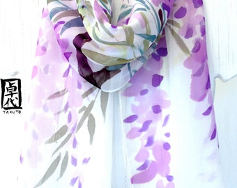 Silk Scarf Handpainted, Purple Chiffon Scarf, Purple Japanese Wisteria, Purple Silk Scarf, Silk Scarves Takuyo, 11x60 inches, Made to order.