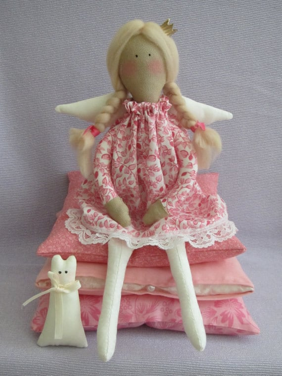Custom order for Rebecca - The Princess and the Pea fabric Angel doll with kitty, blonde in red