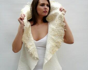 Felt vest, felted wool vest white