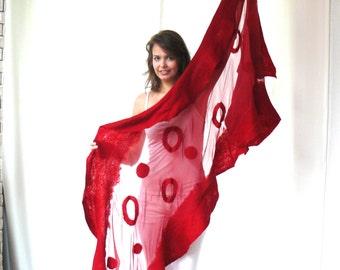 FREE SHIPPING Nuno felted shawl, large scarf,  Red silk and wool shawl