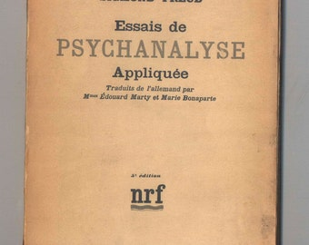 Sigmund Freud Essais de Psychanalyse Appliquee Librarie Gallimard Psychoanalysis Early French Edition Vintage Paperback Book from 1936
