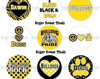INSTANT DOWNLOAD Yellow Gold  Bulldogs  School Mascot 1 inch Circle Bottlecap Images 4x6 sheet