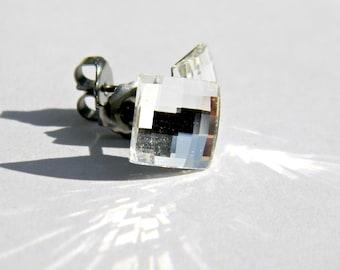 Crystal Chessboard Earrings  8mm Diamond Clear Square Swarovski Crystals on Titanium Post Earring  Modern  Art Deco  Hypoallergenic