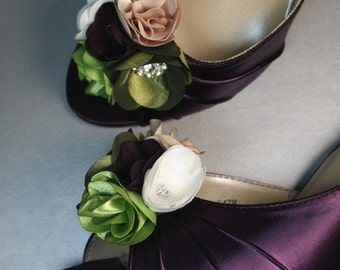 Wedding Shoes -- Plum Peeptoes with Plum, Green, Ivory and Beige Flower Adornment