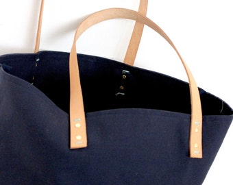 "Canvas tote...""XOXO""  navy blue tote bag with PERSONALIZED leather label"