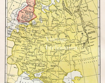 Antique 1950s WESTERN USSR and FINLAND Vintage Map atlas page