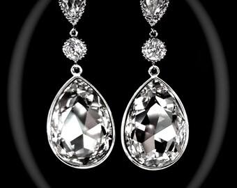 """Swarovski large crystal teardrop earrings - Statement earrings - Brides earrings -  3"""" long ~ Clear crystal earrings ~ Pageant, Prom,Jewelry"""