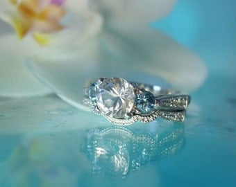 Elegant  Snow White Herkimer Diamond and Aquamarine  Engagement Ring and Wedding Band