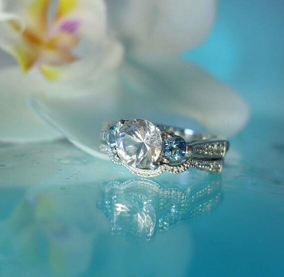 Elegant  Snow White Herkimer Diamond and Aquamarine  Engagement Ring and Wedding Band