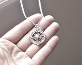 Silver Compass Necklace- Swarovski Crystal Bead- Personalized Gifts-  Birthstone Color- Customizable- Sterling Silver Chain