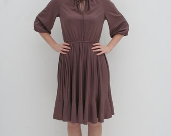 1970's Brown Mid Length Pleated Dress with Tie Collar