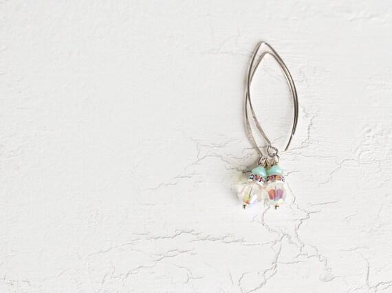Crystal Earrings. Minimalist Beaded Earrings in Swarovski Crystal and Sterling Silver. Ideal Bridal / Wedding Jewelry