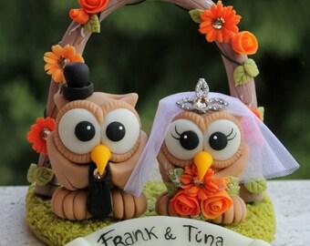 Owl love bird wedding cake topper with floral arc and grass base, fall wedding, burnt orange wedding