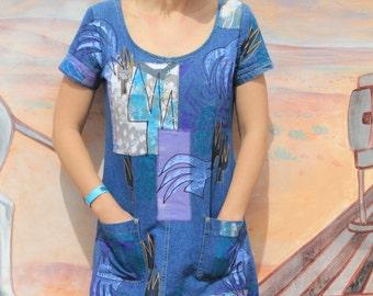 Blue Summer - Vintage Handpainted Mini Denim Pocket Dress, Southwest Artistic, Small / Medium