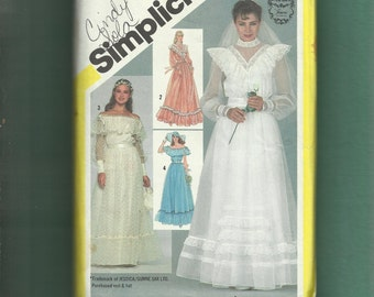 Vintage 1981 Simplicity 5217  Gunne Sax Wedding Gown Western Chic Loads of Ruffles and Lace Size 10 UNCUT