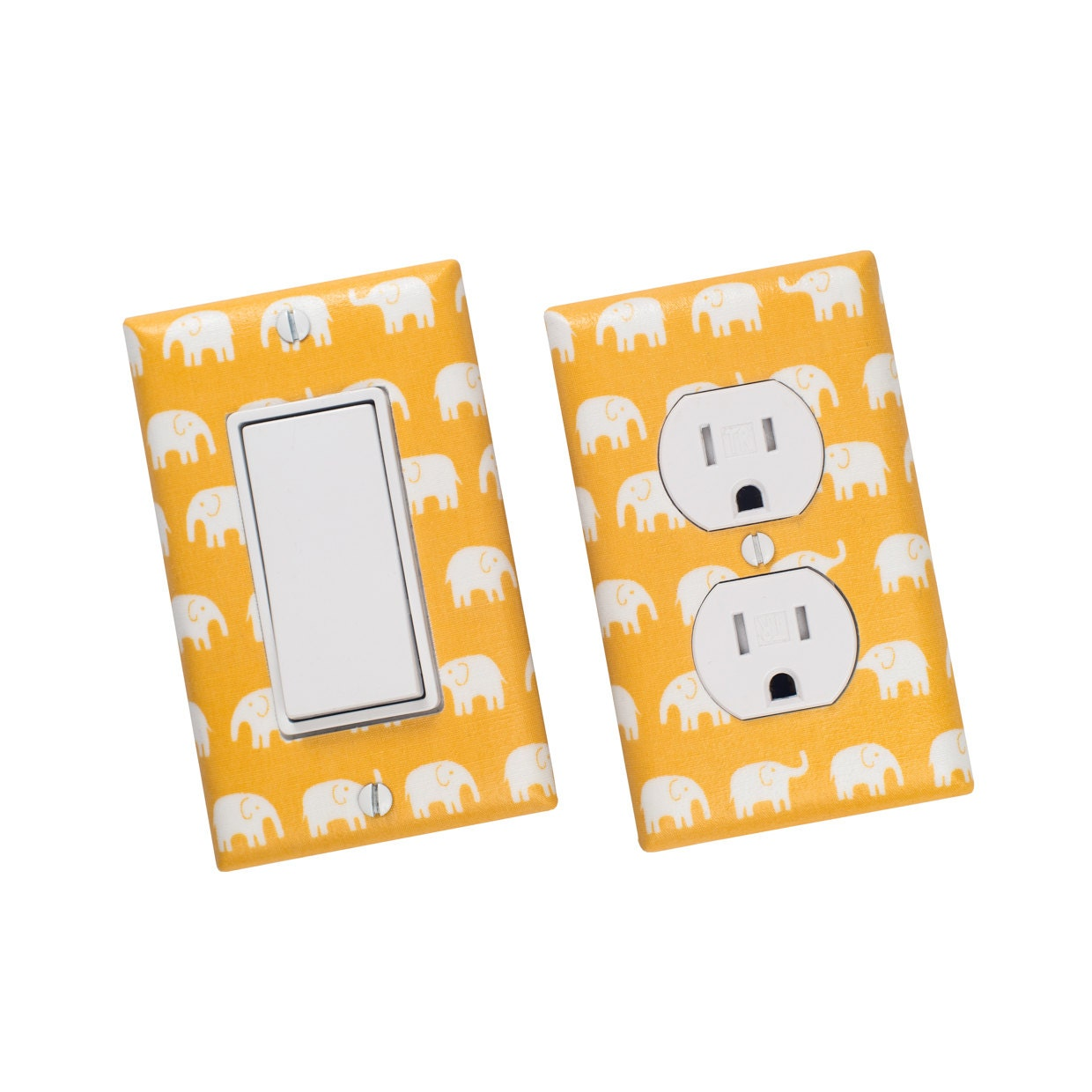 Yellow Elephant Light Switch Plate Outlet Cover By