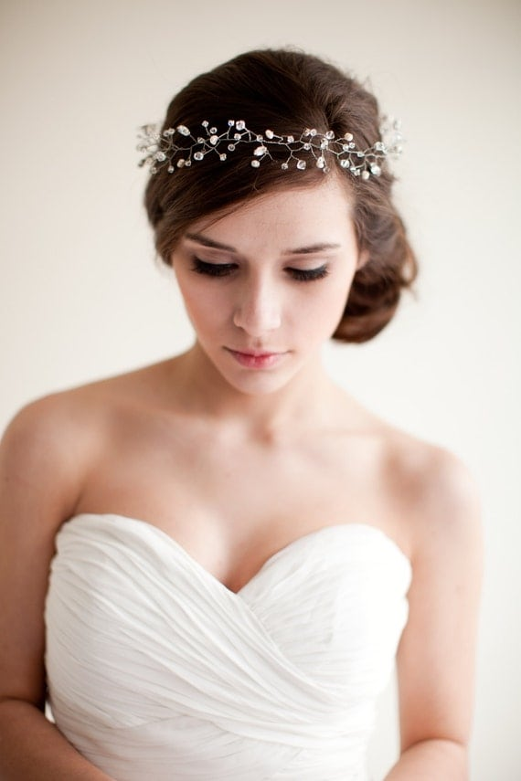 Bridal Crown Wedding Tiara Hair Wreath Floral Headband Bridal Halo Crystal Tiara Pearl Rhinestone, Jocelyn