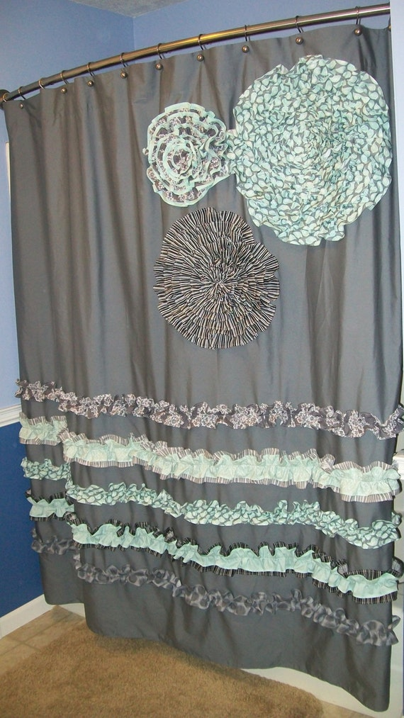 Items Similar To Shower Curtain Custom Made Ruffles And Flowers Designer Fabr