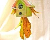 Bird House Miniature Green Pink Autumn Wedding Cottage Gift
